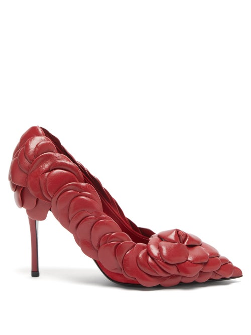Valentino Garavani - Atelier Petal-effect Leather Pumps - Womens - Red