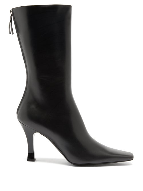 The Row - Office Zipped Leather Boots - Womens - Black