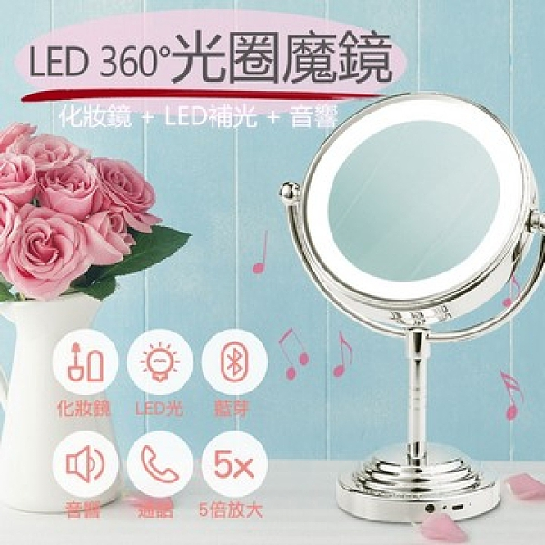 【南紡購物中心】GREENON 光圈魔鏡(四合一智慧型 化妝雙面鏡 LED化妝燈 音響 語音通話)