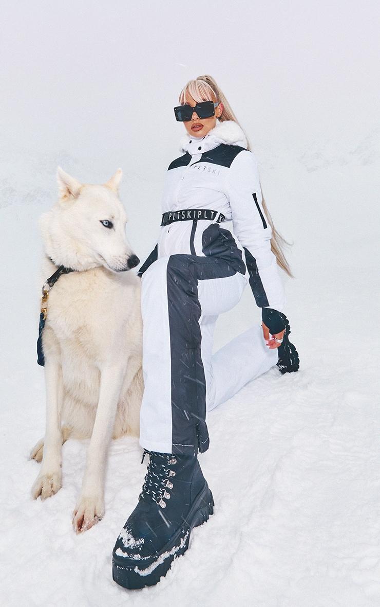 PRETTYLITTLETHING Ski Mono Faux Fur Hooded Belted Ski Jacket