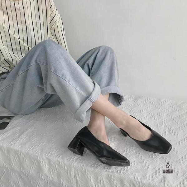 粗跟單鞋女復古方頭淺口氣質休閒鞋【愛物及屋】