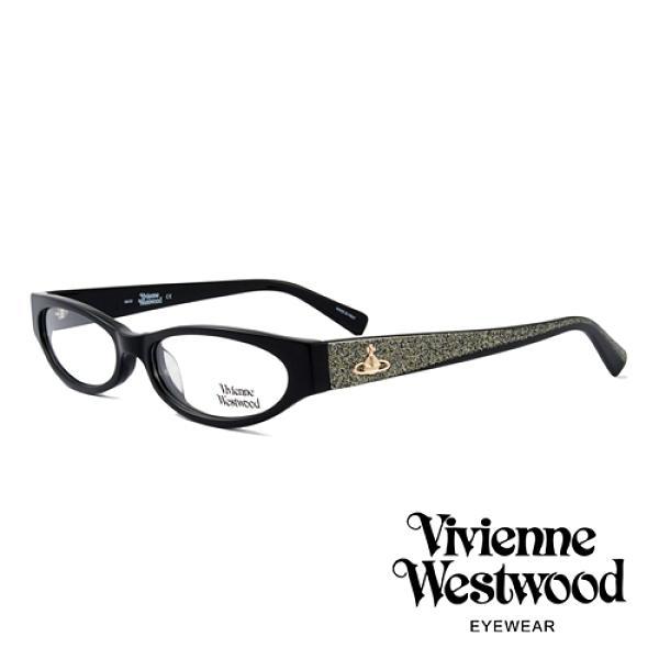 【南紡購物中心】【Vivienne Westwood】英國薇薇安魏斯伍德復古時尚造型光學眼鏡(黑 VW152-01)
