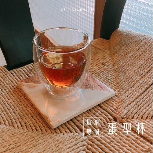 簡約透亮 Φ7.2cm 玻璃雙層蛋型杯 單個.外星人餐具