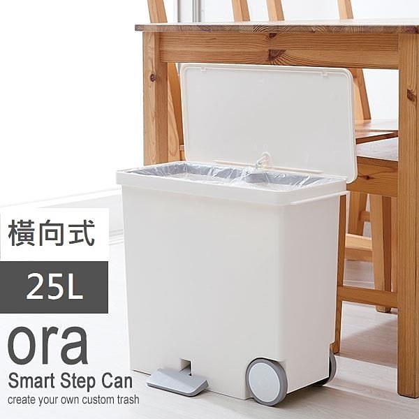【南紡購物中心】日本 LIKE IT 橫向式分類垃圾桶 25L - 純白色