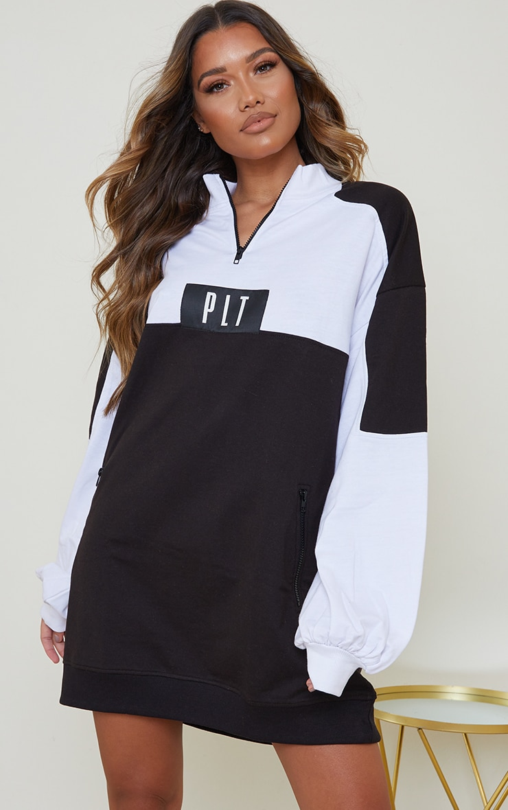 PRETTYLITTLETHING Monochrome Double Zip Sweat Jumper Dress