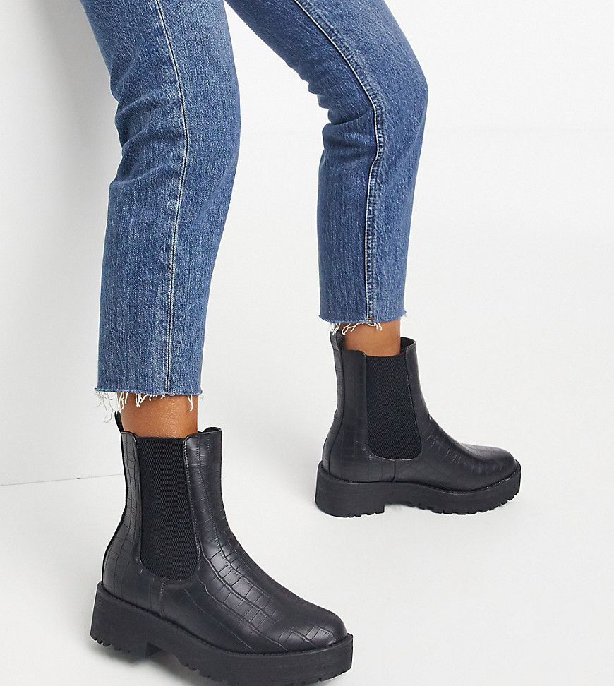 Truffle Collection wide fit chunky chelsea boots in black