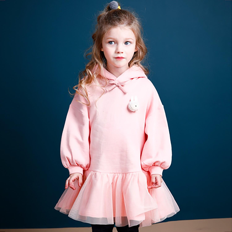 韓國 Jelispoon - (裏起毛)小兔子網紗拼接洋裝-粉紅