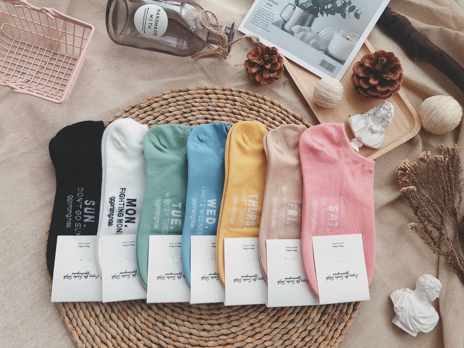 韓國襪-[Anyshop]星期素色短襪