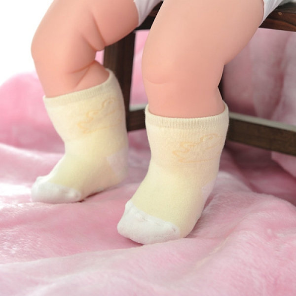 【南紡購物中心】【KEROPPA】MIT0~6個月嬰兒厚底止滑短襪x3雙(黃配白)95001-B