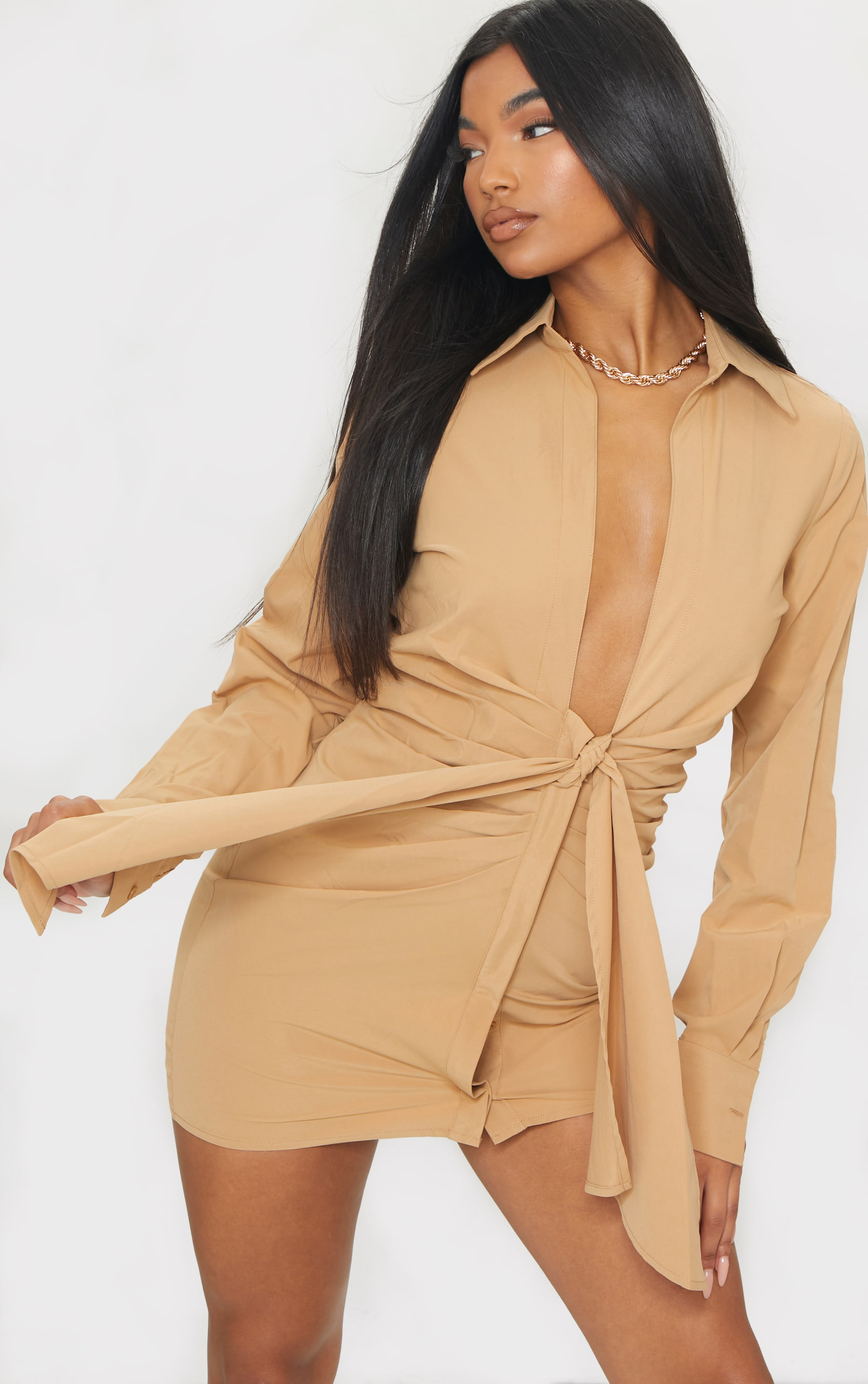Camel Plunge Drape Detail Ruched Shirt Dress