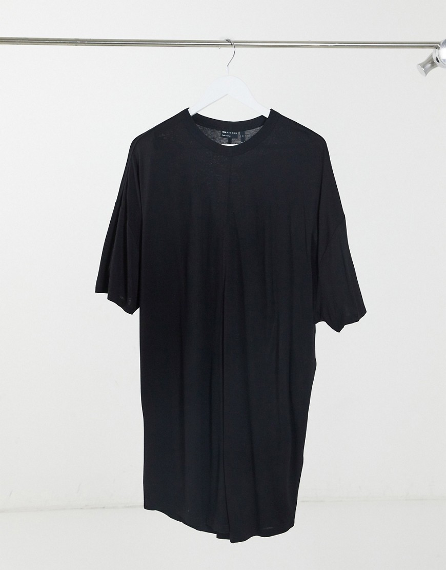 ASOS DESIGN oversized longline viscose t-shirt in black