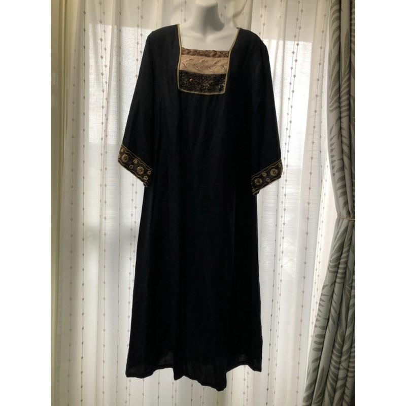 聲聲慢 Couture 100%亞麻 黑色 低調古典風 亮片 長洋裝 尺寸F size