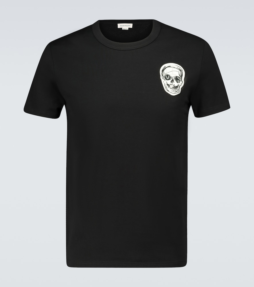 Skull embroidered cotton T-shirt