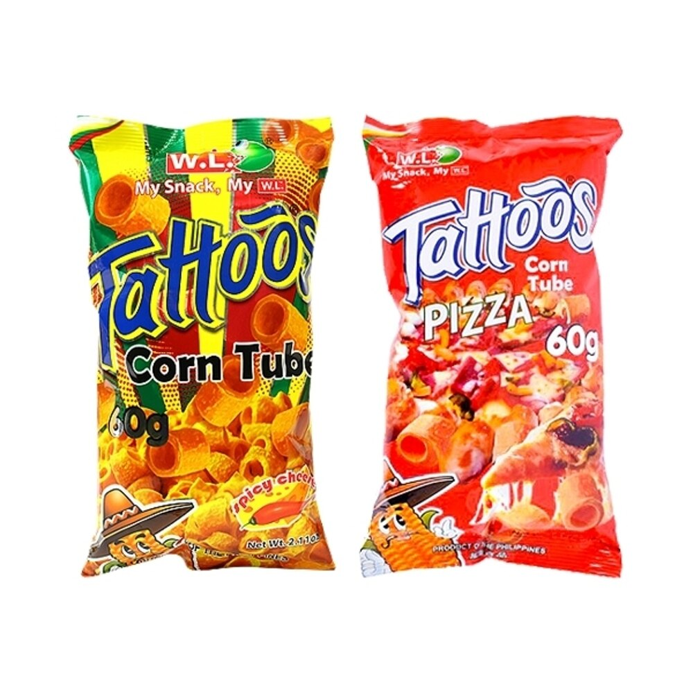 菲律賓 WL FOODS Tattoos玉米脆片/玉米捲(60g) 款式可選【小三美日】◢D790750