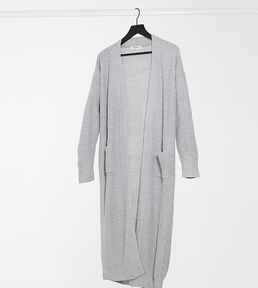 Missguided Petite longline cardigan in grey