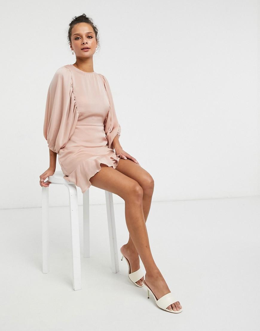 Lola May satin skater dress with volume sleeves-Pink