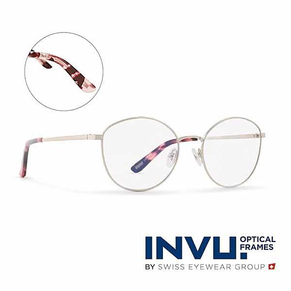 【南紡購物中心】【INVU】瑞士文雅質感貓眼細框光學眼鏡(白銀/瑰粉) B3905B