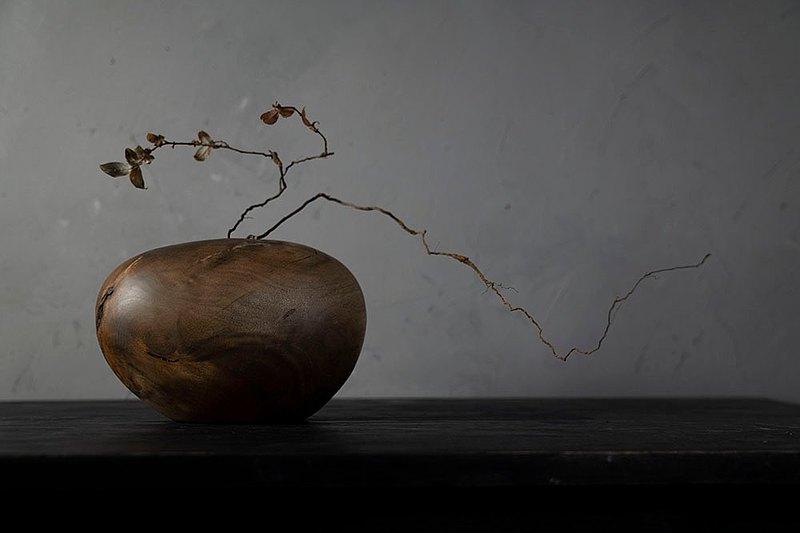 手工木製花器花瓶插花花藝擺飾037號大葉楨楠漬紋木