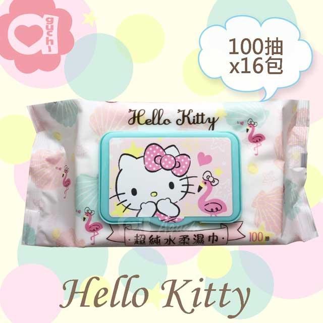 Hello Kitty 凱蒂貓超純水有蓋柔濕巾/濕紙巾(加蓋)100抽X16包 特選柔軟水針布
