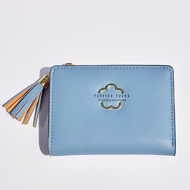 (多色)【L.Elegant】韓版花形流蘇少淑女短夾拉鏈零錢包B1004 _藍色