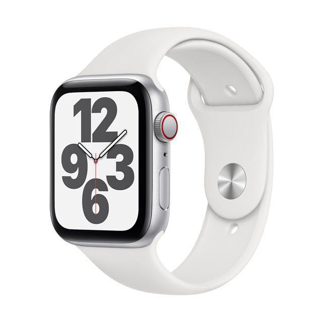 Apple Watch SE LTE, 44mm Silver Case with White Sport Band (MYEV2TA/A)