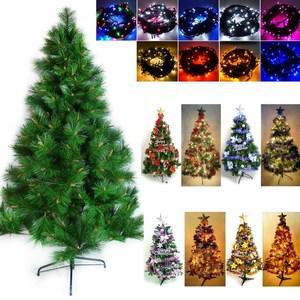 摩達客 台製5尺特級綠松針葉聖誕樹(含飾品組)+100燈LED燈串2串紅金色系+彩色光