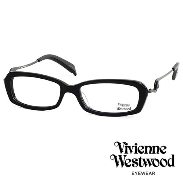 【南紡購物中心】Vivienne Westwood 薇薇安.魏斯伍德 經典流線浮雕土星光學眼鏡(黑色) VW20103