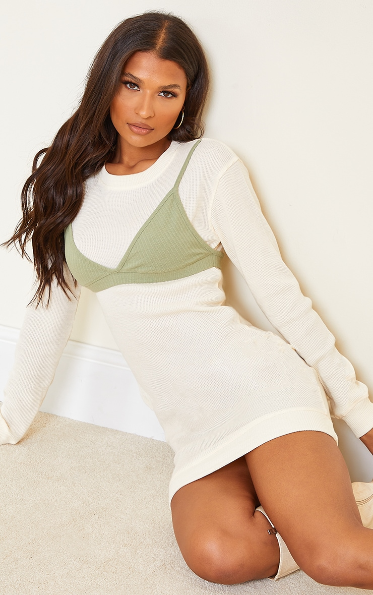 Cream Bralette Detail Waffle Jumper Dress