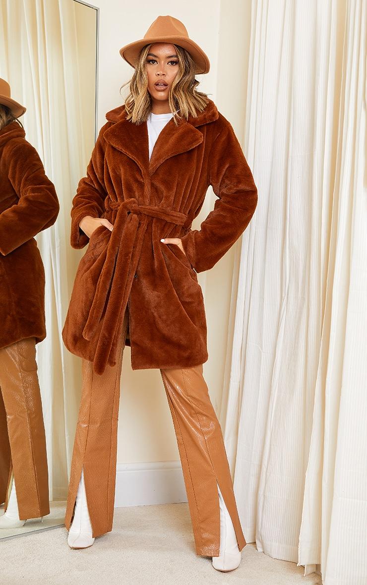 Tan Soft Faux Fur Belted Midi Coat