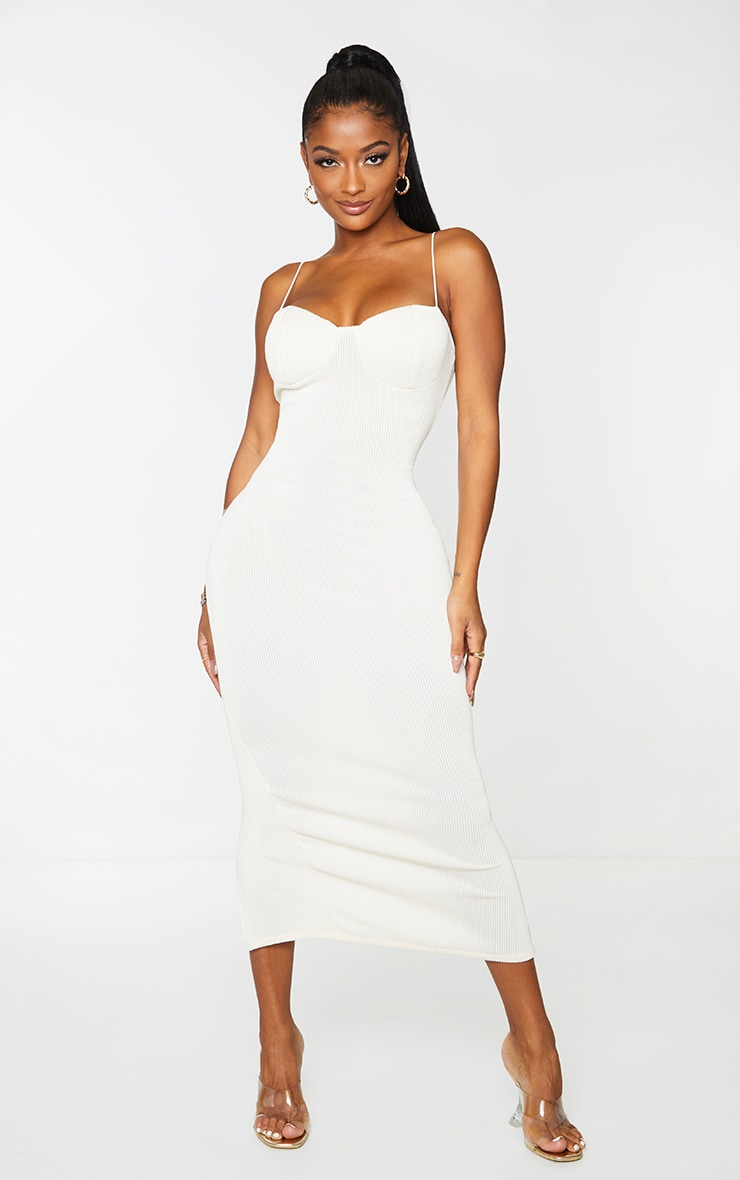 Shape Cream Rib Strappy Cup Detail Midaxi Dress
