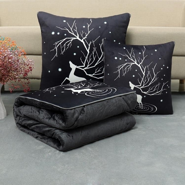 珊瑚絨抱枕被子兩用多功能車載毯子辦公室午睡枕頭汽車折疊空調被 米娜小鋪