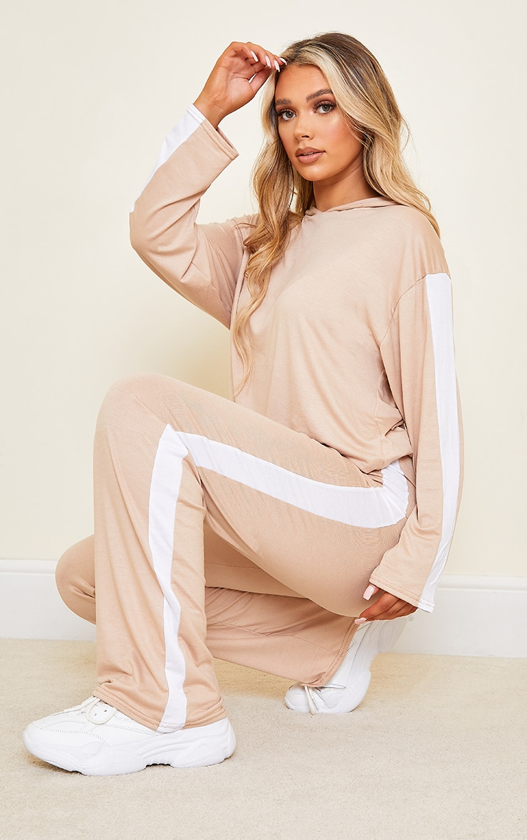 Stone Wide Leg Side Stripe Track Pants
