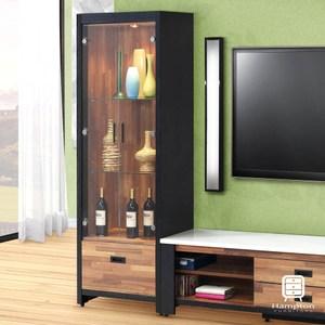 【Hampton 漢汀堡】柏格納雙色積層木2尺展示櫃