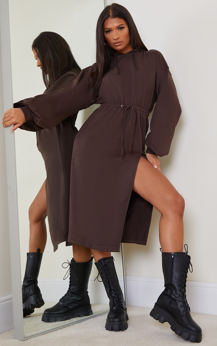 Chocolate Sweat Hoodie Split Midi Dress