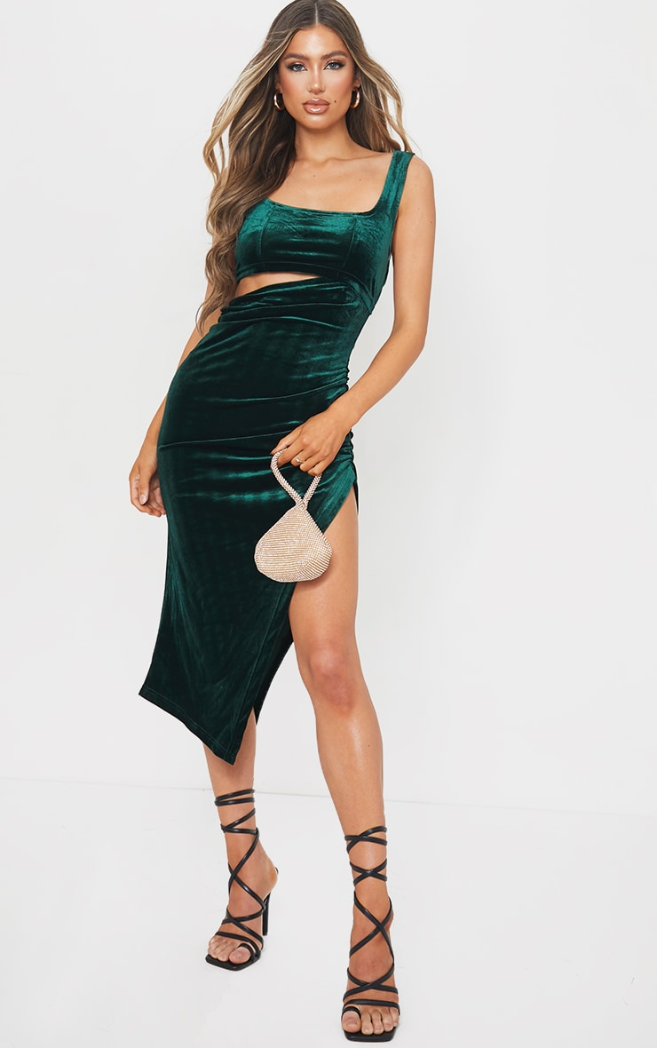 Emerald Green Velvet Sleeveless Cut Out Midi Dress