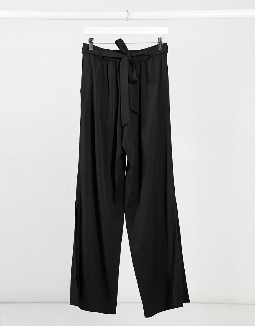 Elvi wide leg trousers with splits in black