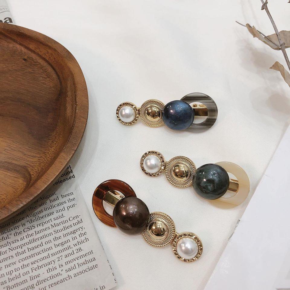 韓國新品 琥珀復古珍珠髮夾