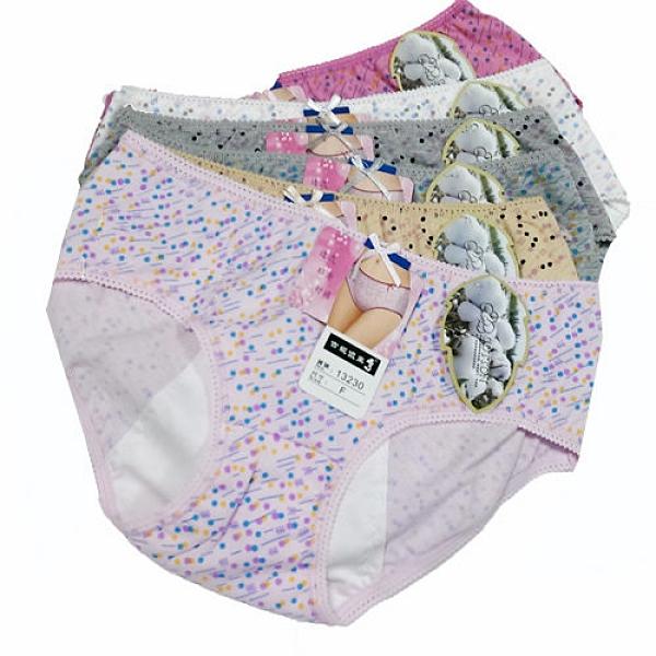 【南紡購物中心】【吉妮儂來】【吉妮儂來】舒適中低腰圓點生理棉褲(6件組/隨機取色)