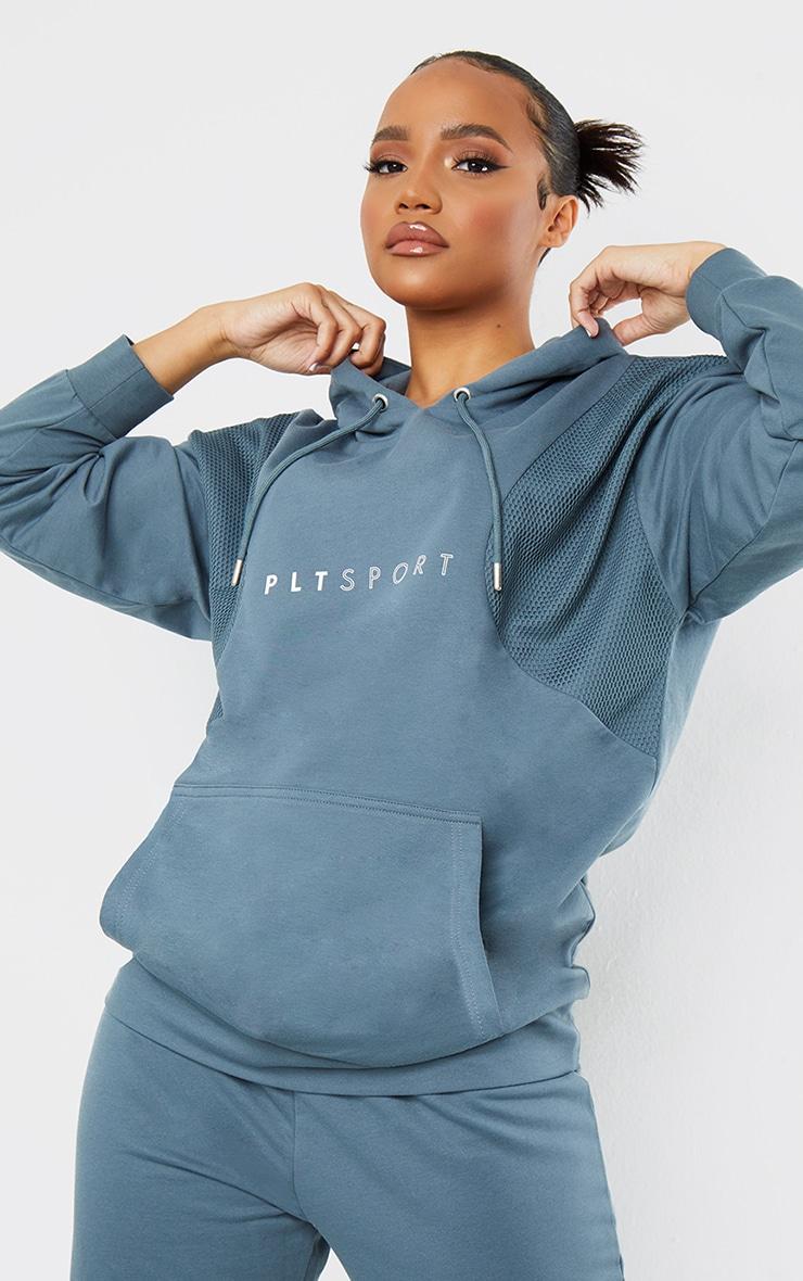 PRETTYLITTLETHING Steel Blue Oversized Mesh Texture Insert Sports Sweater