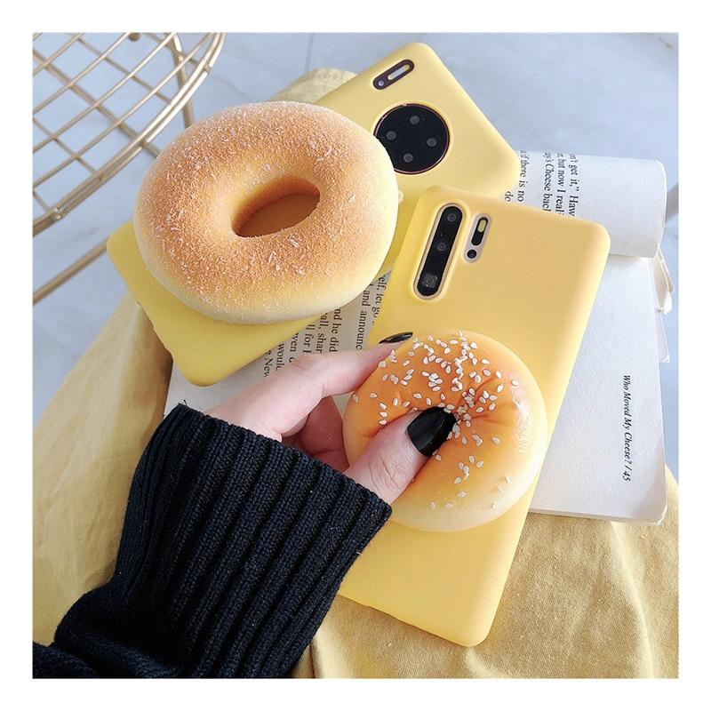 適用於 Iphone 緩解壓力的 3d 麵包甜甜圈軟矽膠電話支架保護套, 適用於 Iphone 6 7 8 Plus X