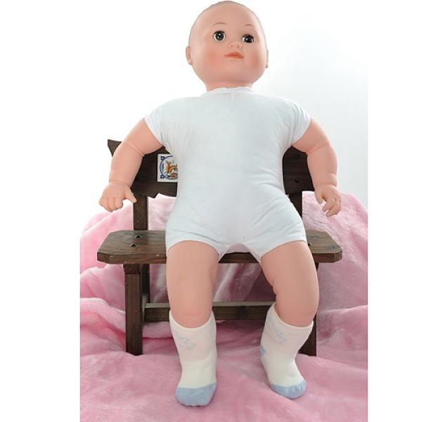 【南紡購物中心】【KEROPPA】MIT6~12個月嬰兒厚底止滑短襪x3雙(白配藍)95001-C