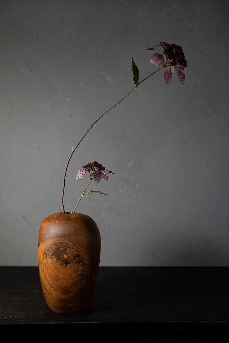 手工木製花器花瓶插花025號高山櫻桃木