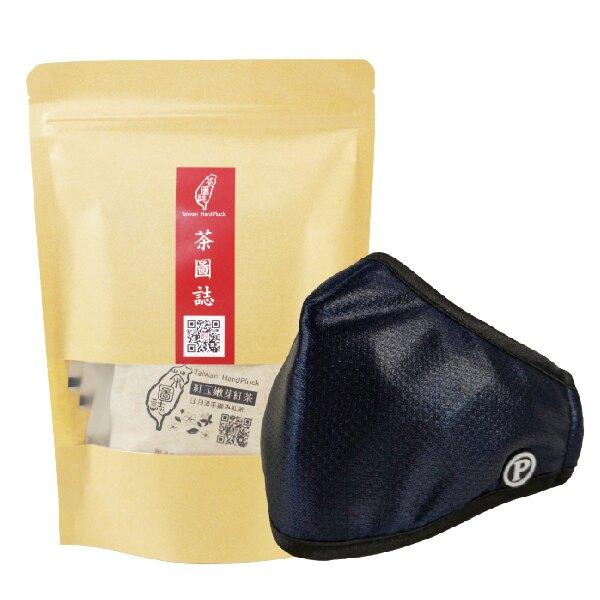 PYX 品業興 P輕薄型口罩- 亮皮黑+茶圖誌茶包組