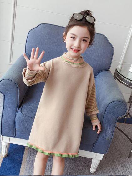 女童洋裝 毛衣連身裙2021秋冬季裝新款韓版洋氣兒童針織衫中長款毛衣裙 百分百