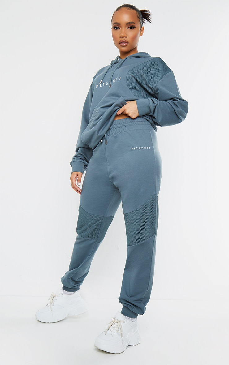 PRETTYLITTLETHING Steel Blue Oversized Mesh Texture Insert Sports Track Pants