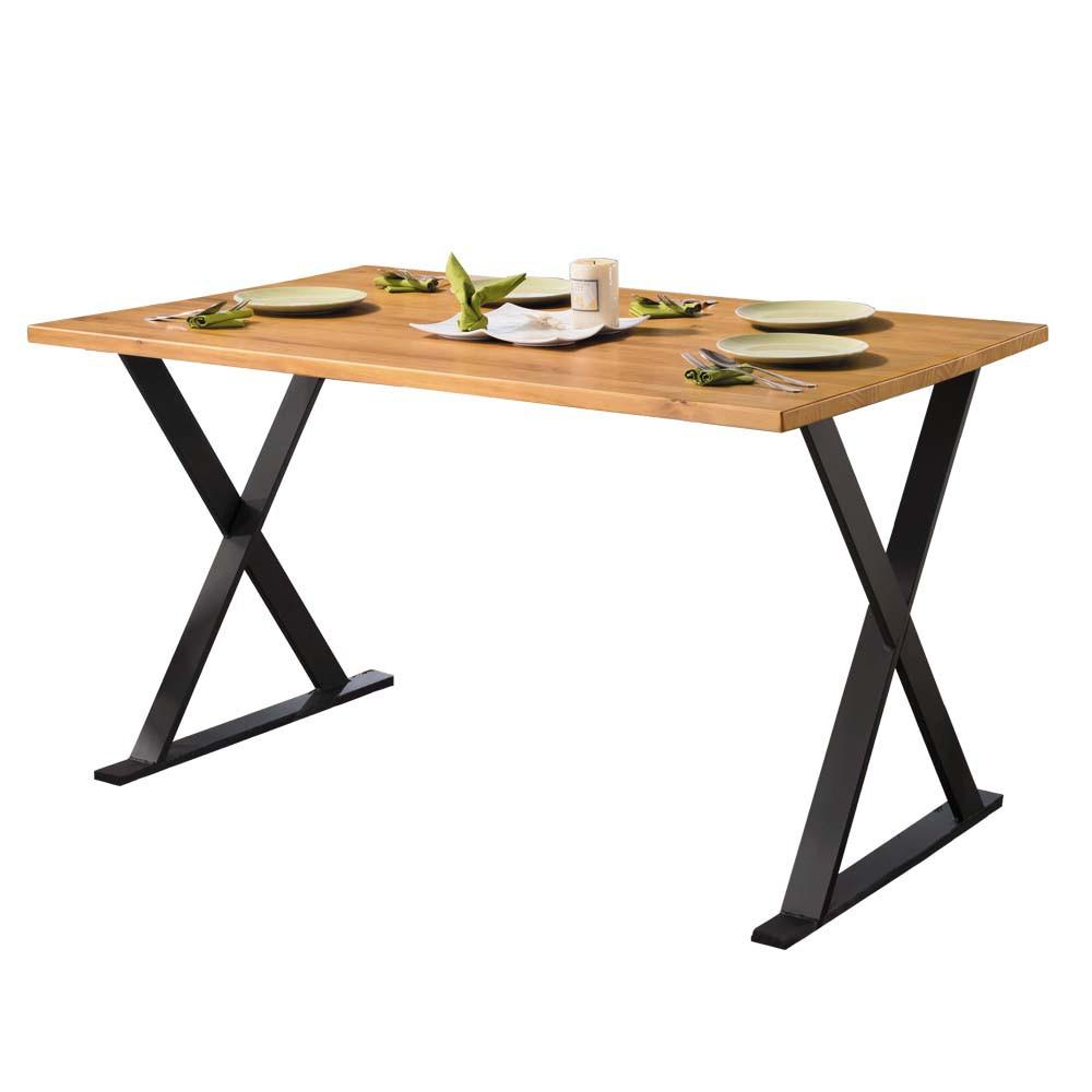 Boden-威利4.3尺工業風實木X造型餐桌