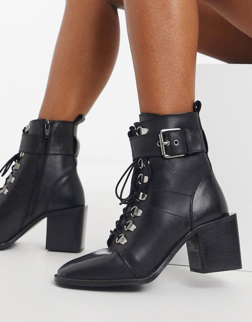 River Island black heel hiker boot in black