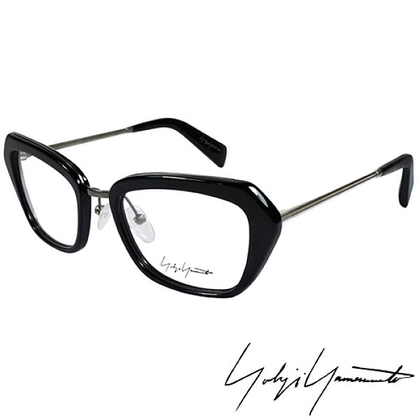 【南紡購物中心】Yohji Yamamoto 山本耀司時尚斜方框金屬混搭造型光學眼鏡-黑 YY1005-019