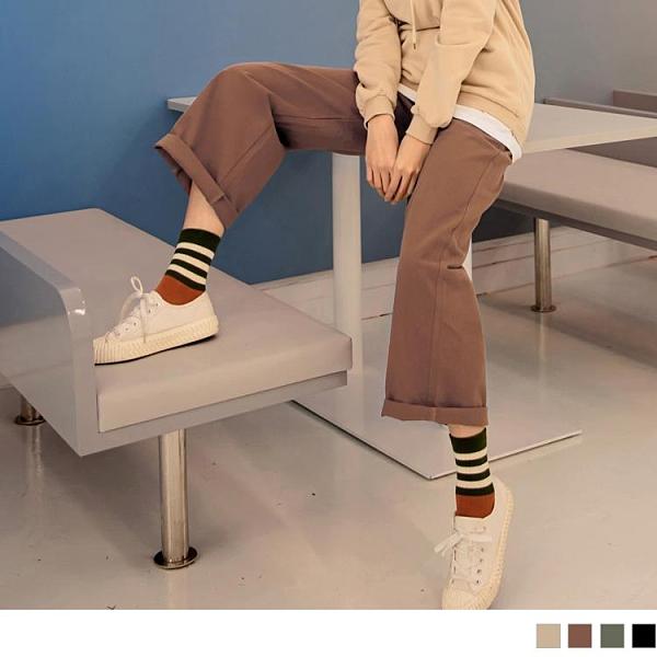 《BA5976》純色高含棉休閒修身遮肉腰鬆緊直筒長寬褲 OrangeBear
