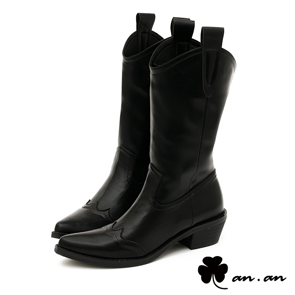 長靴 西部牛仔V口尖頭高筒靴(黑)* an.an【18-B71-2bk】【現+預】